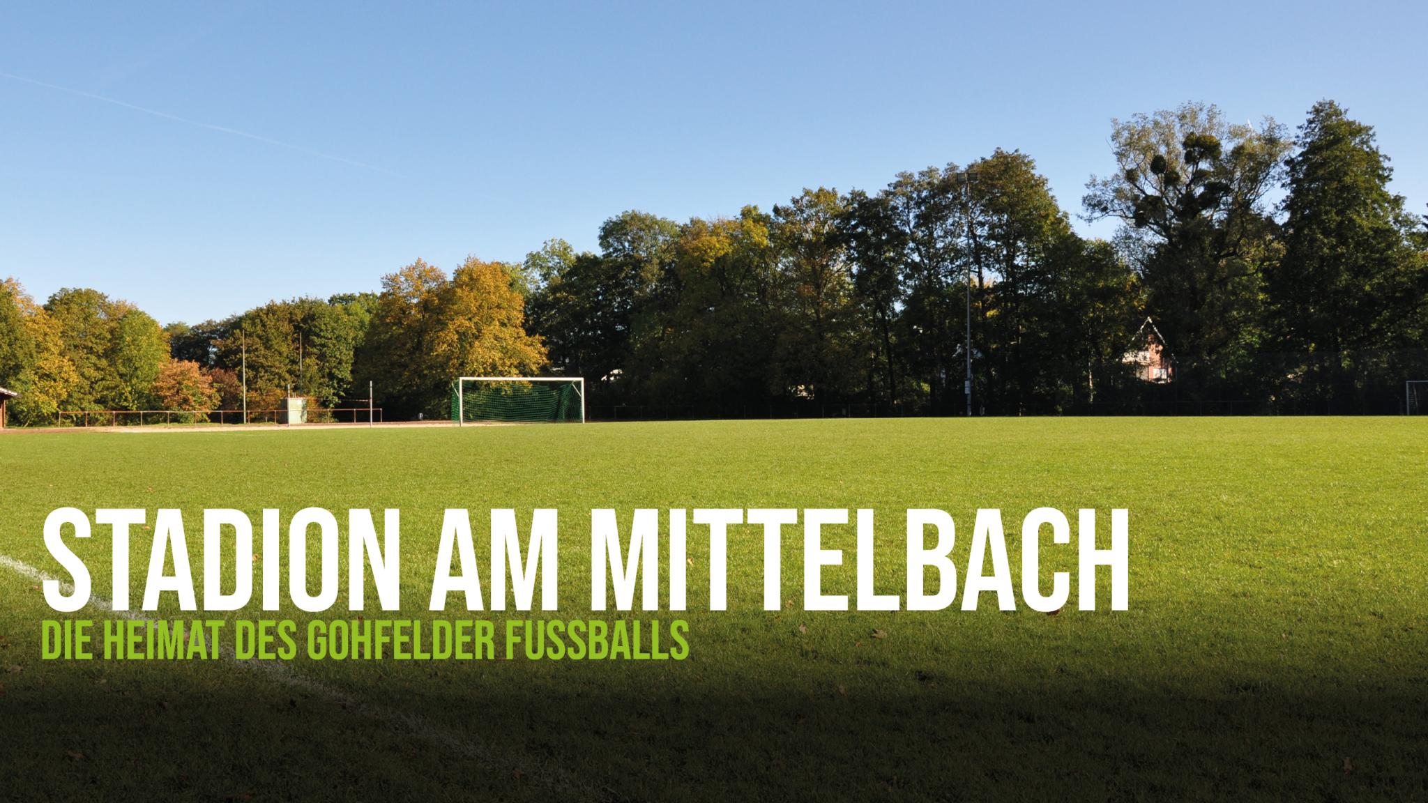 Blick auf das Stadion am Mittelbach, dem Sportplatz des FC Löhne-Gohfeld.